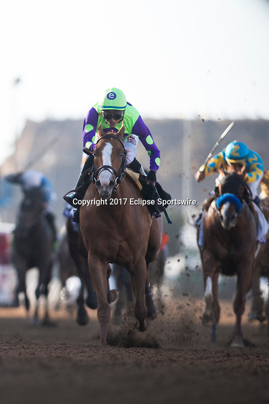 DEL MAR, CA - NOVEMBER 04: Good Magic #6, ridden by Jose Ortiz, holds down the lead heading into the back stretch for the Sentient Jet Breeders' Cup Juvenile on Day 2 of the 2017 Breeders' Cup World Championships at Del Mar Thoroughbred Club on November 4, 2017 in Del Mar, California. (Photo by Alex Evers/Eclipse Sportswire/Breeders Cup)