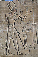 Ancient hieroglyphs on wall, Temple of Karnak, located at modern day Luxor or ancient Thebes, Egypt