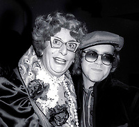 1978 <br /> New York City<br /> Dame Edna (Barry Humphries) &amp; Elton John <br /> at Studio 54<br /> CAP/MPI/PHI<br /> &copy;MPI67/Capital Pictures