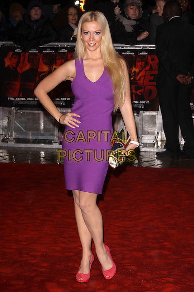 """LIZ FULLER .""""Red"""" UK film premiere, Royal Festival Hall, Southbank Centre, London, England, UK, 19th October 2010. .full length hand on hip purple dress sleeveless pink shoes peep toe union jack clutch bag.CAP/AH.©Adam Houghton/Capital Pictures."""