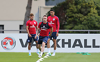 Phil Jones (centre) (Manchester United) of England during an open England football team training session at Stade Omnisport, Croissy sur Seine, France  on 12 June 2017 ahead of England's friendly International game against France on 13 June 2017. Photo by David Horn/PRiME Media Images.