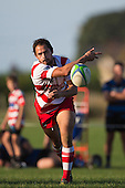 Andrew West gets the ball away to the backline. Counties Manukau Premier Club Rugby game between Karaka and Onehwero played at Karaka Sports Park on Saturday May 7th 2016. Karaka won the game 46 - 9 after leading 20 - 9 at half time. Photo by Richard Spranger.