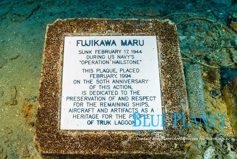 Memorial plaque on main deck, Operation Hailstone, Wreck, WWII, Japanese shipwreck, Chuuk, Micronesia, Truk, Chuuk Lagoon, Pacific Ocean, Lens Corrected