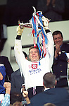Andy Goram lifts the Scottish Cup for Rangers after the final at Hampden in 1996