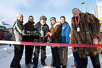 VIP's at the ribbon cutting ceremony are (L to R) Mayor of Nome Diane Michaels, Mayor of Anchorage Dan Sullivan, Iditarider Ed Ford,  Alaska State sentors Lisa Murkowski & Mark Begich and State of Alaska Lt. Governor Mead Treadwell just prior to the ceremonial start of the 2011 Iditarod in Anchorage, Alaska