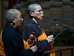 Buddhist monastics chant a prayer during a July 23 interfaith prayer and memorial service in the Keizersgrachtkerk in Amsterdam, the Netherlands. Sponsored by the World Council of Churches-Ecumenical Advocacy Alliance, the service was held on the first day of the 2018 International AIDS Conference.