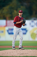 Mahoning Valley Scrappers starting pitcher Yeffersson Yannuzzi (27) gets ready to deliver a pitch during a game against the Williamsport Crosscutters on August 28, 2018 at BB&T Ballpark in Williamsport, Pennsylvania.  Williamsport defeated Mahoning Valley 8-0.  (Mike Janes/Four Seam Images)