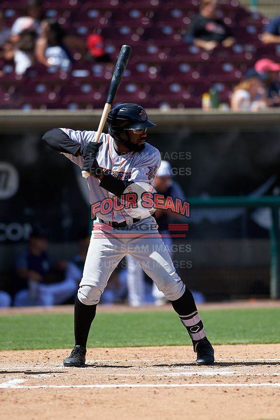 Inland Empire 66ers left fielder Kevin Williams, Jr. (20) during a California League game against the Lake Elsinore Storm on April 14, 2019 at The Diamond in Lake Elsinore, California. Lake Elsinore defeated Inland Empire 5-3. (Zachary Lucy/Four Seam Images)