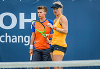 Den Bosch, Netherlands, 12 June, 2017, Tennis, Ricoh Open, Woman's doubles: Kiki Bertens (NED)/Demi Schuurs (NED) (L)<br /> Photo: Henk Koster/tennisimages.com