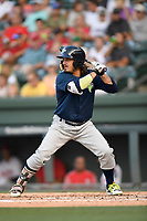 Left fielder Jay Jabs (7) of the Columbia Fireflies bats in a game against the Greenville Drive on Thursday, June 15, 2017, at Fluor Field at the West End in Greenville, South Carolina. Columbia won, 7-2. (Tom Priddy/Four Seam Images)