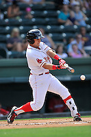 Third baseman Michael Chavis (11) of the Greenville Drive bats in a game against the Lakewood BlueClaws on Sunday, June 26, 2016, at Fluor Field at the West End in Greenville, South Carolina. Greenville won, 2-1. (Tom Priddy/Four Seam Images)