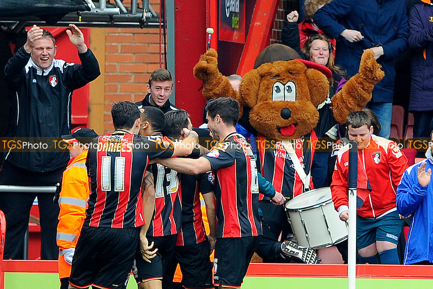 Harry Arter of AFC Bournemouth celebrates in front of the home fans after scoring the second goal- AFC Bournemouth vs Middlesbrough - Sky Bet Championship Football at the Goldsands Stadium, Bournemouth, Dorset - 21/03/15 - MANDATORY CREDIT: Denis Murphy/TGSPHOTO - Self billing applies where appropriate - contact@tgsphoto.co.uk - NO UNPAID USE