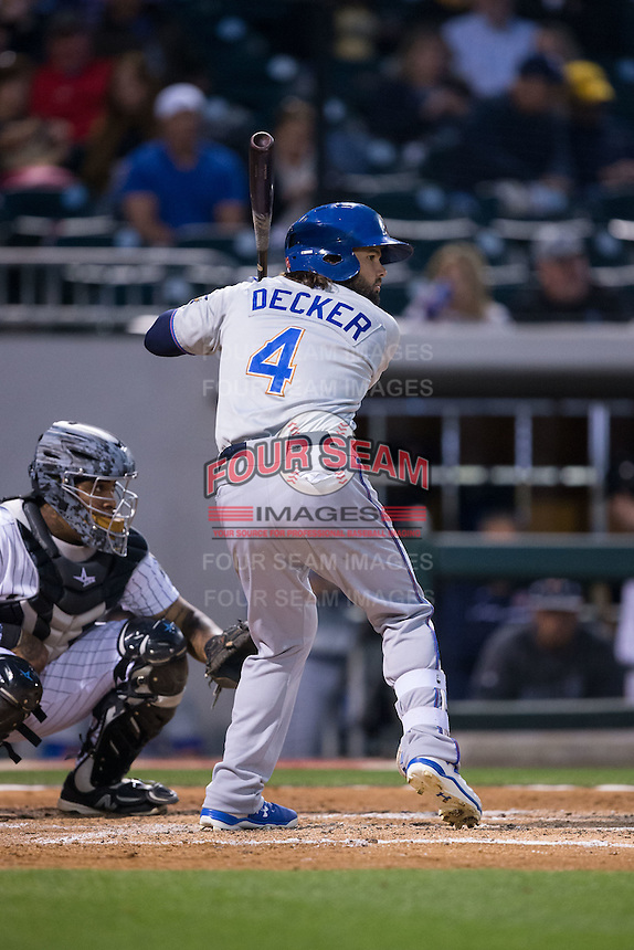 Jaff Decker (4) of the Durham Bulls at bat against the Charlotte Knights at BB&T BallPark on April 14, 2016 in Charlotte, North Carolina.  The Bulls defeated the Knights 2-0.  (Brian Westerholt/Four Seam Images)