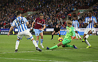 West Ham United's Javier Hernandez sees his shot saved by Huddersfield Town's Jonas Lossl<br /> <br /> Photographer Rob Newell/CameraSport<br /> <br /> The Premier League - Huddersfield Town v West Ham United - Saturday 10th November 2018 - John Smith's Stadium - Huddersfield<br /> <br /> World Copyright © 2018 CameraSport. All rights reserved. 43 Linden Ave. Countesthorpe. Leicester. England. LE8 5PG - Tel: +44 (0) 116 277 4147 - admin@camerasport.com - www.camerasport.com