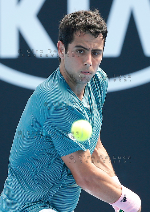 15th January 2019, Melbourne Park, Melbourne, Australia; Australian Open Tennis, day 2; Jaume Munar of Spain returns the ball during a match against Fabio Fognini of Italy
