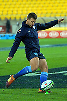 Bulls Handre Pollard warms up during the Super Rugby quarterfinal between the Hurricanes and Bulls at Westpac Stadium in Wellington, New Zealand on Saturday, 22 June 2019. Photo: Dave Lintott / lintottphoto.co.nz