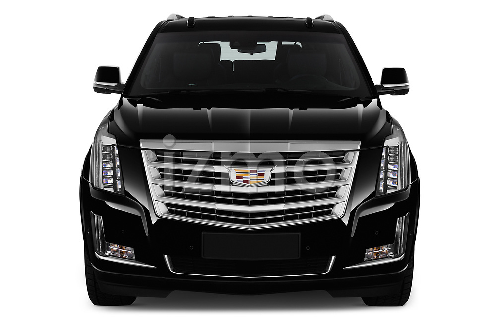 Car photography straight front view of a 2019 Cadillac Escalade Platinum 5 Door SUV Front View