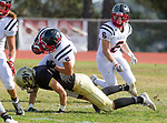 Palos Verdes, CA 11/03/17 - Michael Gamez (Peninsula #22) and Cooper Gardner (Palos Verdes #5) in action during the Palos Verdes vs Palos Verdes Peninsula CIF Varsity football game at Peninsula High School for the battle of the hill.
