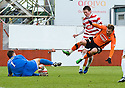 05/02/2011   Copyright  Pic : James Stewart.sct_jsp002_hamitlon_v_dundee_utd  .::  DAVID GOODWILLIE IS BUNDLED OVER IN THE BOX BUT THREF WAVES PLAY ON  ::.James Stewart Photography 19 Carronlea Drive, Falkirk. FK2 8DN      Vat Reg No. 607 6932 25.Telephone      : +44 (0)1324 570291 .Mobile              : +44 (0)7721 416997.E-mail  :  jim@jspa.co.uk.If you require further information then contact Jim Stewart on any of the numbers above.........