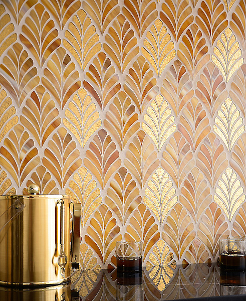 Margot, a handmade mosaic shown in Tiger's Eye Jewel Glass and 24K Gold Glass, is part of the Aurora&reg; Collection by Sara Baldwin for New Ravenna.<br /> <br /> For pricing samples and design help, click here: http://www.newravenna.com/showrooms/