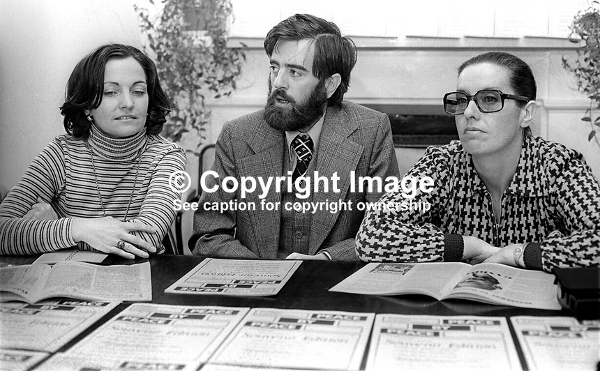 Peace People leaders (from left) Mairead Corrigan, Ciaran McKeown and Betty Williams at a Press Conference in Belfast, N Ireland, UK, on 15th October 1976 announce the launch of a new magazine, Peace by Peace. 197610150435b<br />