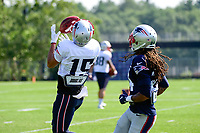 August 1, 2017: New England Patriots wide receiver Chris Hogan (15) catches the ball over his shoulder at the New England Patriots training camp held at Gillette Stadium, in Foxborough, Massachusetts. Eric Canha/CSM