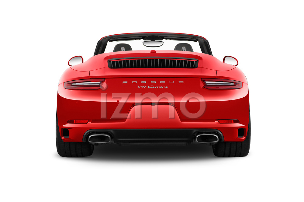 Straight rear view of a 2017 Porsche 911 Carrera 2 Door Convertible stock images