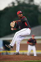 Batavia Muckdogs relief pitcher Alberto Guerrero (41) delivers a pitch during a game against the Auburn Doubledays on July 4, 2017 at Dwyer Stadium in Batavia, New York.  Batavia defeated Auburn 3-2.  (Mike Janes/Four Seam Images)
