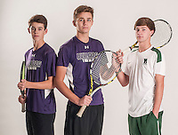 NWA Democrat-Gazette/ANTHONY REYES • @NWATONYR<br /> Hans Corbell (left) and Cannon Kern, both of Fayetteville, and Braydon Montgomery of Van Buren, Wednesday, Dec. 2, 2015 at the Northwest Arkansas Democrat Gazette office in Springdale. Montgomery is the singles tennis player of the year and Corbell and Kern are the doubles players of the year.