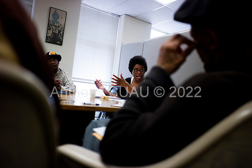 Philadelphia, Pennsylvania<br /> May 3, 2010<br /> <br /> Ahnivah Williams is the &quot;Job Developer&quot; for the Philadelphia Unemployment Project (PUP) and holds a weekly meeting with unemployed people in the area to discuss job hunting situations and strategies. She also presents a few job opportunities in the end of the meeting.