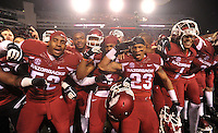NWA Media/Michael Woods --11/22/2014-- w @NWAMICHAELW...University of Arkansas players celebrate on the sidelines after their 30-0 win over Ole Miss during Saturdays game at Razorback Stadium.