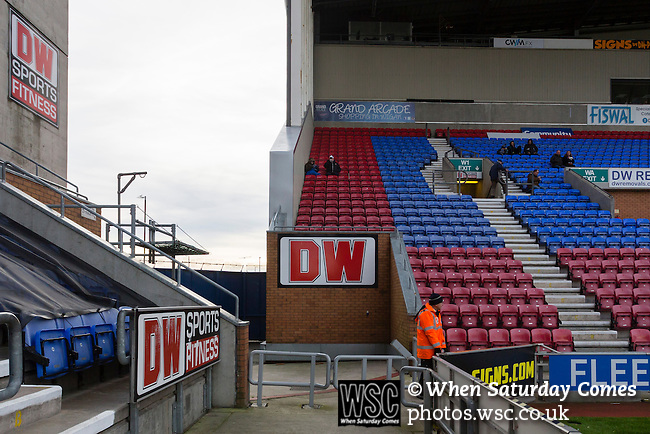 Wigan Athletic 1 Shrewsbury Town 0, 21/11/2015. DW Stadium, League One. The DW Stadium. Wigan Athletic earned a narrow 1-0 at home to Shrewsbury Town. Wigan competed in the Premier League from 2005 to 2013. They won the 2013 FA Cup. The club also embarked on its first European campaign during the 2013–14 UEFA Europa League. Advertising for DW Sports inside the DW Stadium. Photo by Paul Thompson
