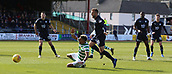 17th March 2019, Dens Park, Dundee, Scotland; Ladbrokes Premiership football, Dundee versus Celtic; Scott Sinclair of Celtic is hauled down by James Horsfield of Dundee but no penalty is given