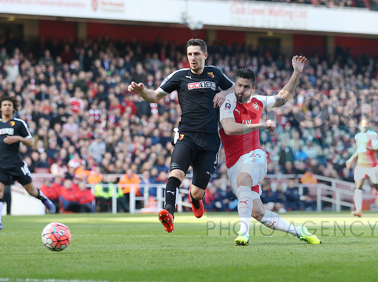 Arsenal?s Olivier Giroud sees his goal disallowed for offside during the Emirates FA Cup match at The Emirates Stadium.  Photo credit should read: David Klein/Sportimage