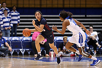 DURHAM, NC - NOVEMBER 29: Kayla Padilla #45 of the University of Pennsylvania brings the ball up the court during a game between Penn and Duke at Cameron Indoor Stadium on November 29, 2019 in Durham, North Carolina.