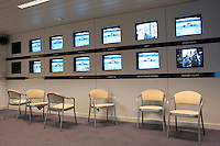A viewing area for journalists covering the tournament at Wimbledon, The All England Lawn Tennis Club (AELTC), London..