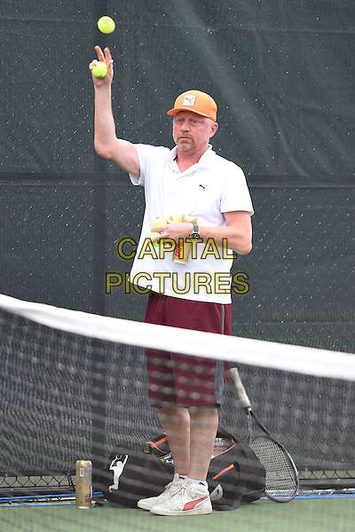 KEY BISCAYNE, FL - MARCH 28: Boris Becker is sighted practicing with Novak Djokovic during the Miami Open at Crandon Park Tennis Center on March 28, 2015 in Key Biscayne, Florida. <br /> CAP/MPI/MPI04<br /> &copy;MPI04/MPI/Capital Pictures