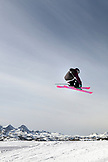 USA, California, Mammoth, a skiier catches air off a jump at Mammoth Ski Resort