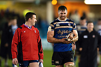 Dave Attwood of Bath Rugby speaks to an assistant referee after the match. Premiership Rugby Cup match, between Bath Rugby and Gloucester Rugby on February 3, 2019 at the Recreation Ground in Bath, England. Photo by: Patrick Khachfe / Onside Images