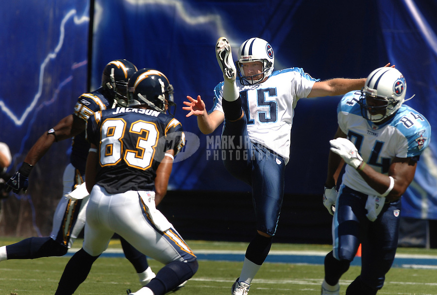 Sept. 17, 2006; San Diego, CA, USA; Tennessee Titans punter (15) Craig Hentrich against the San Diego Chargers at Qualcomm Stadium in San Diego, CA. Mandatory Credit: Mark J. Rebilas
