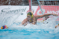 Jamie Beadsworth (top) of Australia fights with Niccolo Gitto (bottom) of Italy for the ball during the Vodafone Waterpolo Cup in Budapest, Hungary on July 15, 2012. ATTILA VOLGYI