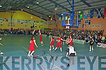 Paudie Fleming St Pauls shoots a three pointer against St Mary's during the Division 1 Mens Final at the St Mary's basketball blitz in Castleisland Community Centre on Tuesday