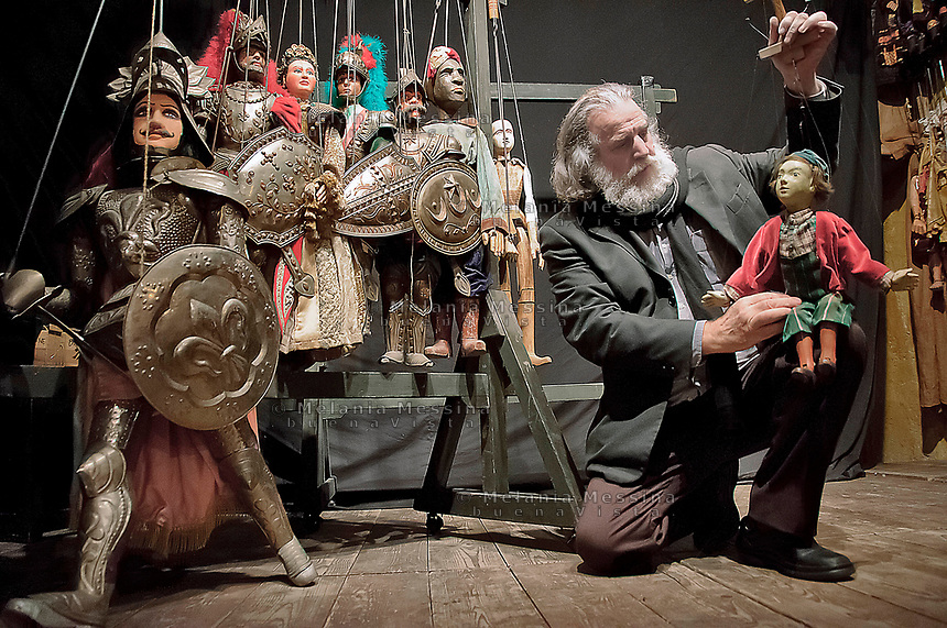 Palermo: Mimmo Cuticchio with his puppets in the backstage of his theatre..Mimmo Cuticchio con i suoi pupi