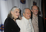 """Lois Smith & David Margulies & Henry Stram (in play) at the Opening Night party of Signature Theatre Company's """"The Illusion"""" on June 5, 2001 at the West Bank Cafe with the play at the Peter Norton Space, New York City, New York.  (Photo by Sue Coflin/Max Photos)"""