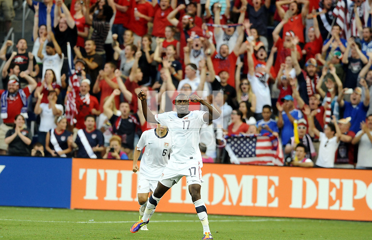 Jozy Altidore USMNT celebrates his goal..USA defeated Guadeloupe 1-0 in Gold Cup play at LIVESTRONG Sporting Park, Kansas City, Kansas.