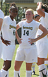 23 September 2007: San Francisco's Samantha Brand (6) and Shannon Reimer (14). The University of North Carolina Tar Heels defeated the University of San Francisco Dons 2-0 at Koskinen Stadium in Durham, North Carolina in an NCAA Division I Women's Soccer game, and part of the annual Duke Adidas Classic tournament.