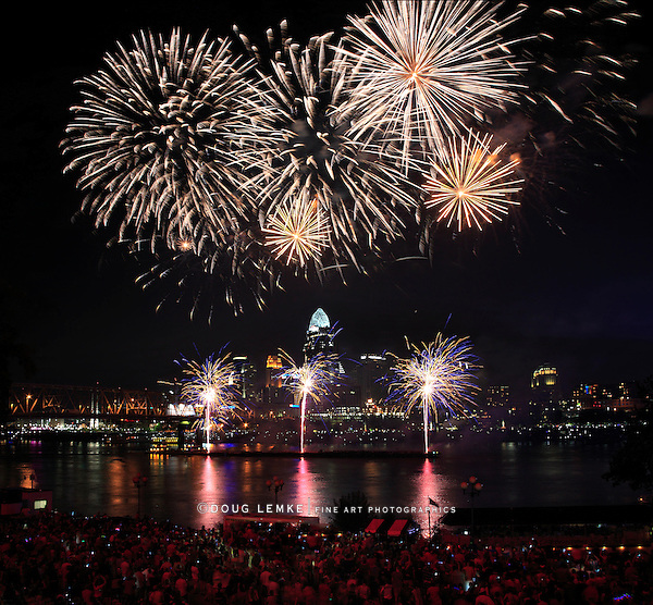 Fireworks bursting over the city of Cincinnati and the Ohio River during the Labor Day celebration, 2013, Cincinnati Ohio, USA