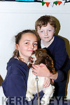Lauren and Thomas Joy with their dog at the bring your pet to school day in Fybough NS Castlemaine on Friday