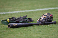 Baseball bat and glove on June 22, 2014 at the Dell Diamond in Round Rock, Texas. (Andrew Woolley/Four Seam Images)