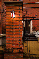 Yale University Campus Alley on a Rainy Day. Brick, Lantern and Wrought Iron on Grove Street New Haven CT